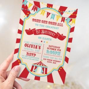 Printable Dark Red Circus/Carnival Invitation- Red Sunburst