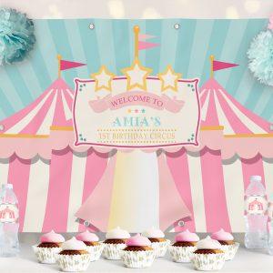 Printable Circus/Carnival Backdrop- Pink & Teal- 4 x 6