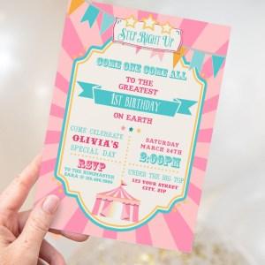 Printable Circus/Carnival Invitation- Pink