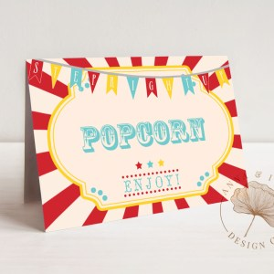 Printable Circus or Carnival Buffet/Food/Place Cards- Dark Red