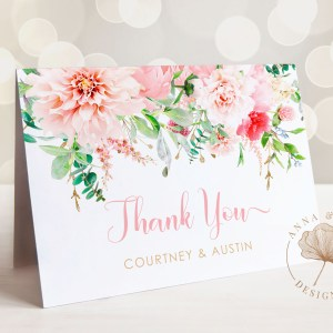 Printable Pink Floral Thank You Card