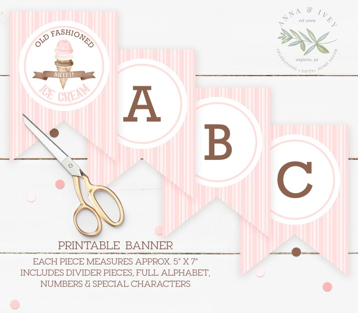 Printable Ice Cream Party Banner- Stripes