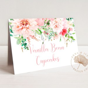Printable Buffet/Food/Place Cards- Pink Floral