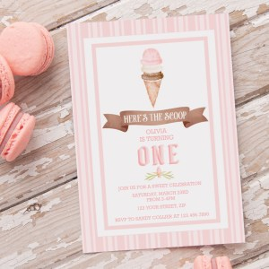 Printable Ice Cream Party Invitation- Stripes