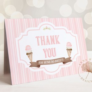 Printable Ice Cream Thank You Card- Stripes