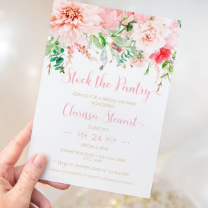 Printable Pink Floral Stock the Pantry Invitation