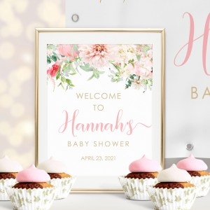 Printable Pink Floral Welcome Sign