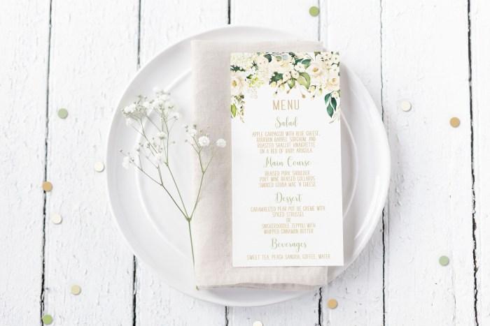 Printable Menu Cards- White Floral