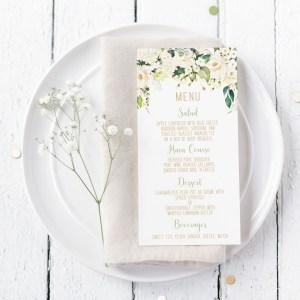 Printable White Floral Menu Cards