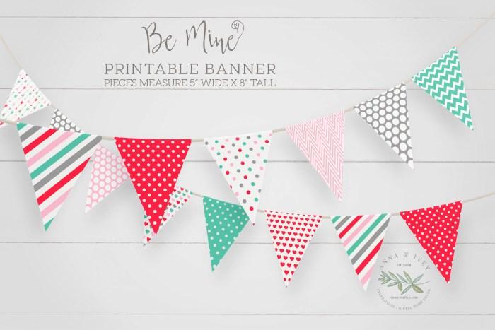 Printable Be Mine Valentine Banner