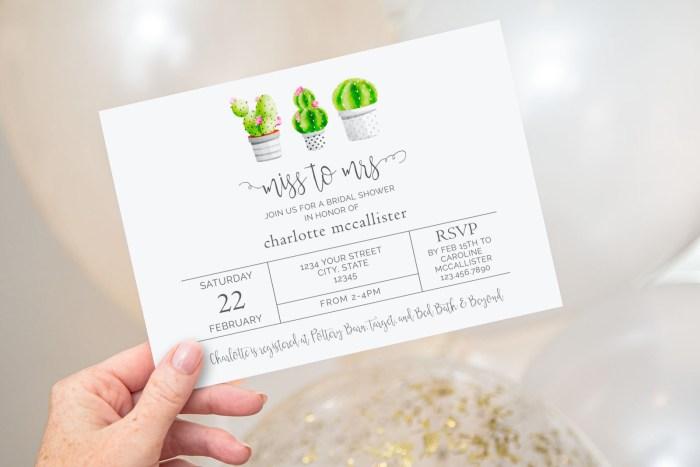Printable Cactus Bridal Shower Invitation- Miss to Mrs