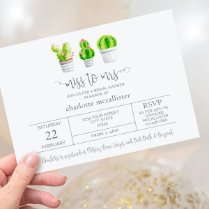 Printable Cactus Bridal Shower Invitation- Miss to Mrs