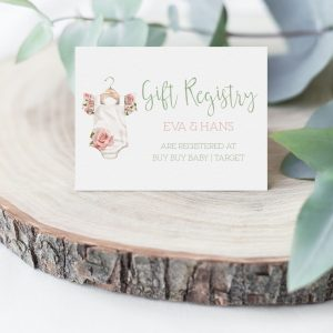 Printable Gift Registry Card- Floral Onesie