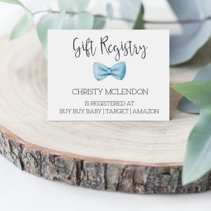 Printable Gift Registry Card- Light Blue Bow Tie