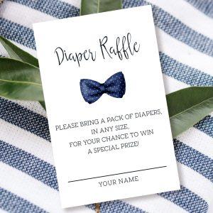 Printable Diaper Raffle Card- Navy Blue Bow Tie