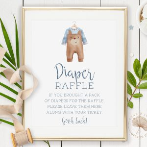 Printable Diaper Raffle Sign- Brown Onesie