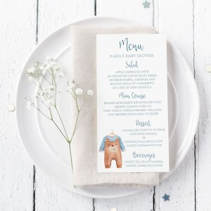 Printable Baby Shower Menu Cards- Brown Onesie