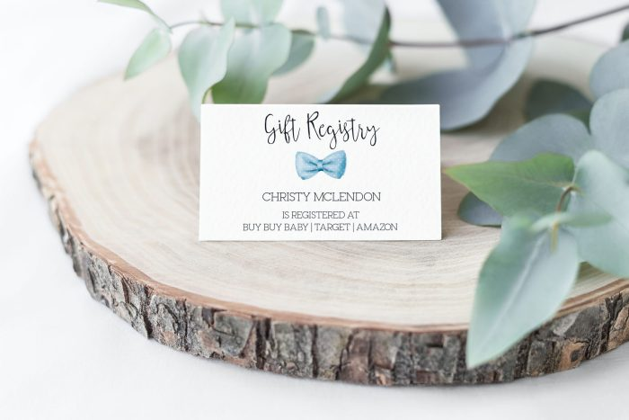 Printable Baby Shower Gift Registry Card- Light Blue Bow Tie