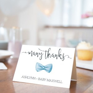Printable Baby Shower Thank You Card- Light Blue Bow Tie