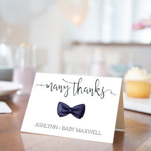 Printable Baby Shower Thank You Card- Navy Bow Tie