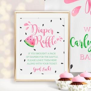 Printable Watermelon Diaper Raffle Sign