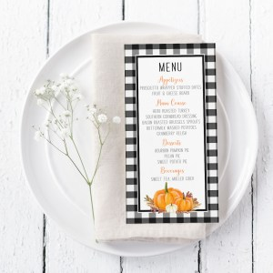 Printable Buffalo Check with Orange Pumpkins Menu Card