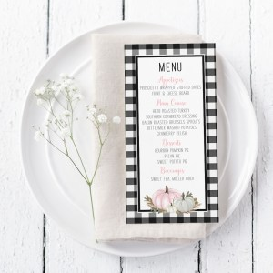 Printable Buffalo Check with Pink Pumpkins Menu Card