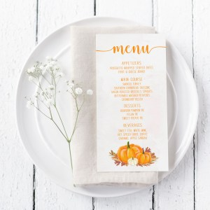 Printable Orange Pumpkins Menu Card