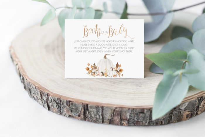 Printable Ivory Pumpkins Books for Baby Card