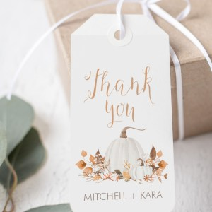 Printable Ivory Pumpkins Thank You Tags