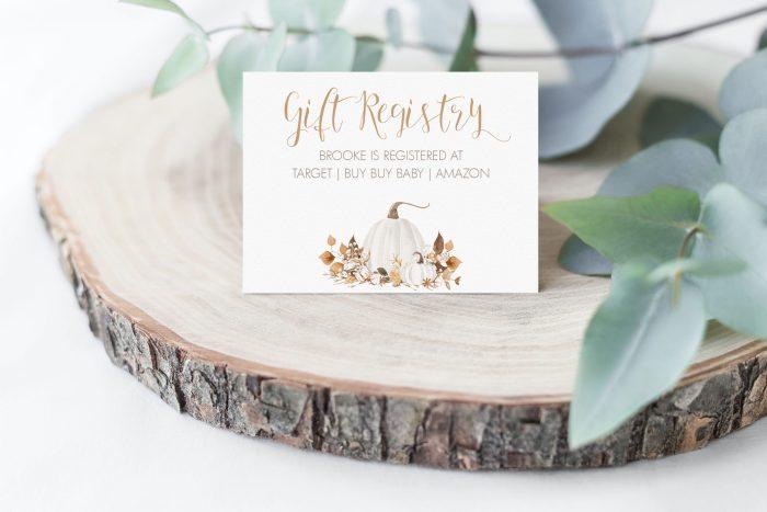 Printable Ivory Pumpkins Gift Registry Card