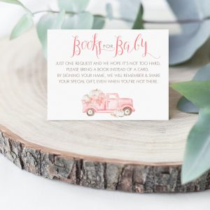 Printable Pink Pumpkin Truck Books for Baby Card
