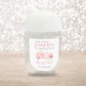 Printable Pink Pumpkin Truck Hand Sanitizer Labels- Birthday