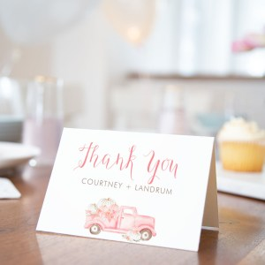 Printable Pink Pumpkin Truck Thank You Card