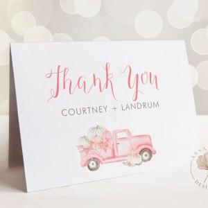 Pink Pumpkin Truck Thank You Card