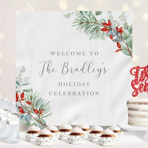 Printable Christmas Greenery Holiday Party Backdrop