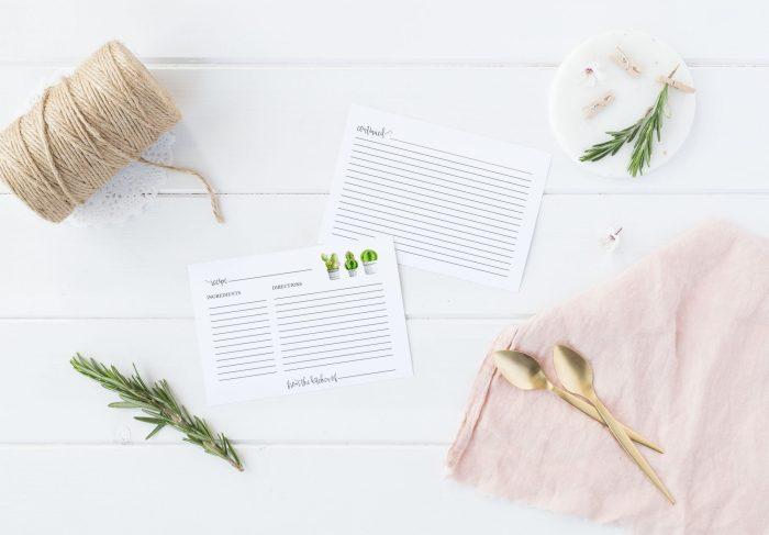 Printable Cactus Recipe Card