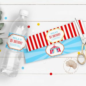 Printable Bright Red Circus/Carnival Party Drink Labels