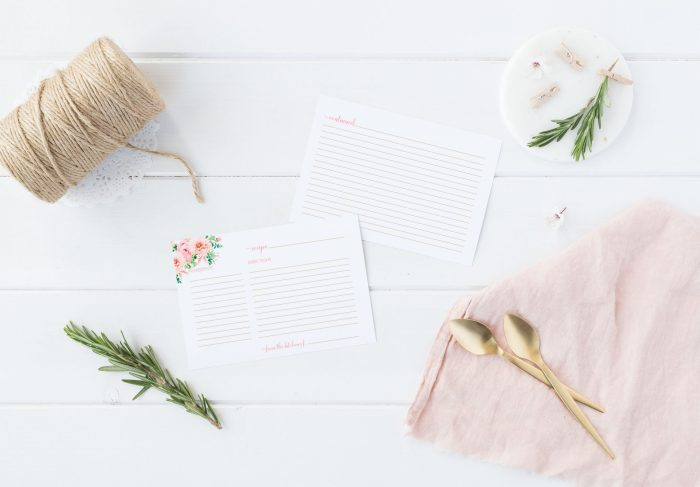 Pink Floral Recipe Card