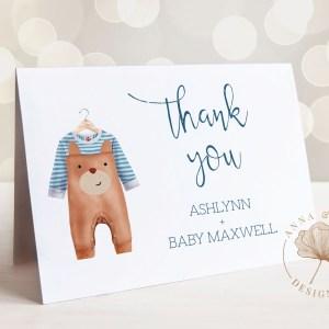 Printable Thank You Card- Brown Onesie
