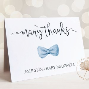 Printable Thank You Card- Light Blue Bow Tie