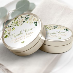 """Printable White Floral Thank You Labels/Tags- 3"""" Inch"""