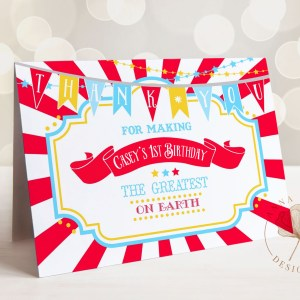 Printable Bright Red Circus/Carnival Thank You Card- Red Sunburst