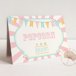 Printable Pink & Mint Circus or Carnival Buffet/Food/Place Cards- Pink & Ivory Sunburst