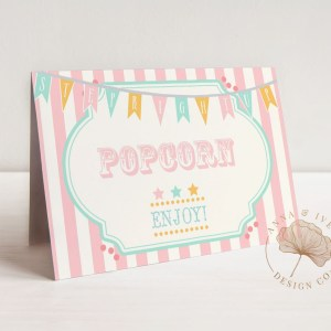 Printable Pink & Mint Circus or Carnival Buffet/Food/Place Cards- Pink Stripes