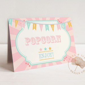 Printable Pink & Mint Circus or Carnival Buffet/Food/Place Cards- Pink Sunburst