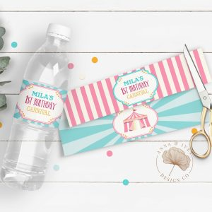 Printable Pink & Teal Circus/Carnival Drink Labels