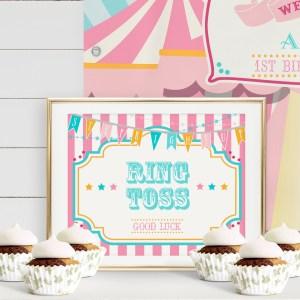Printable Pink & Teal Circus/Carnival Game Sign- Pink Stripes