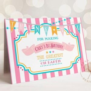Printable Pink & Teal Circus/Carnival Thank You Card- Pink Stripes