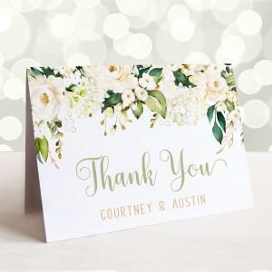 Printable White Floral Thank You Card